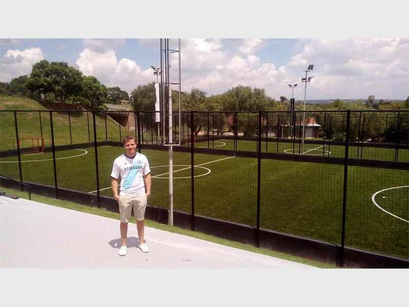 Chase Bernic, one half of the brother duo, in front of the new Fives Premier League pitches.